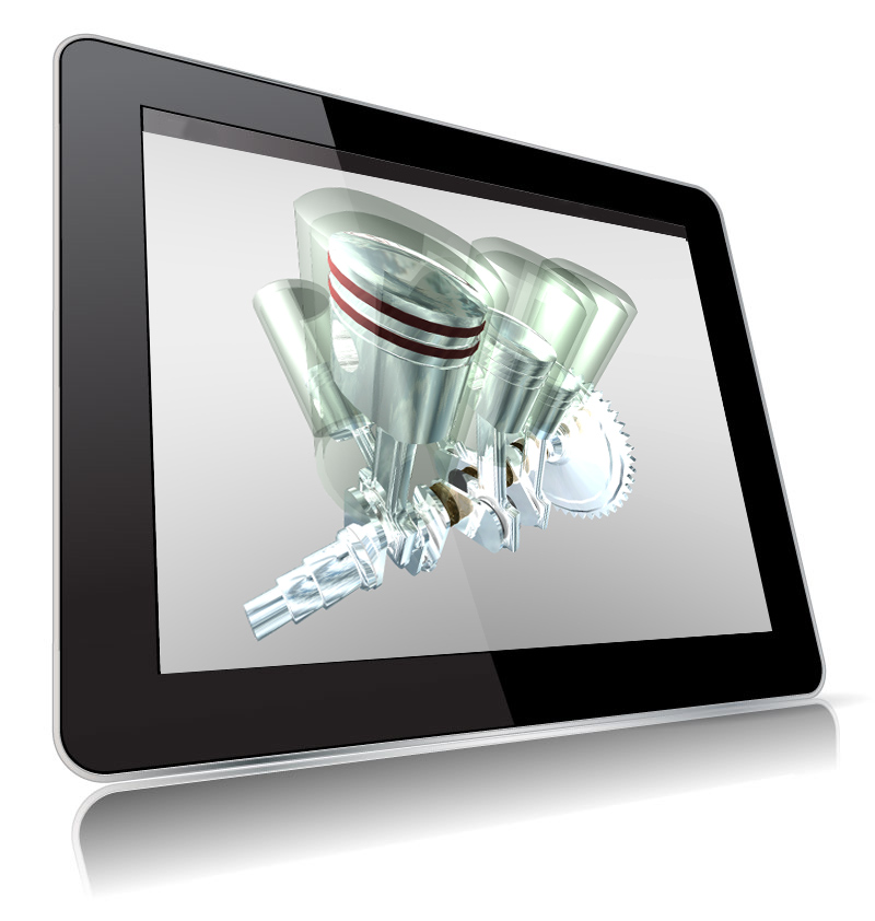 ipad with image of V6 engine
